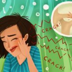 Cartoon image of a woman cringing in pain due to TMJ dysfunction