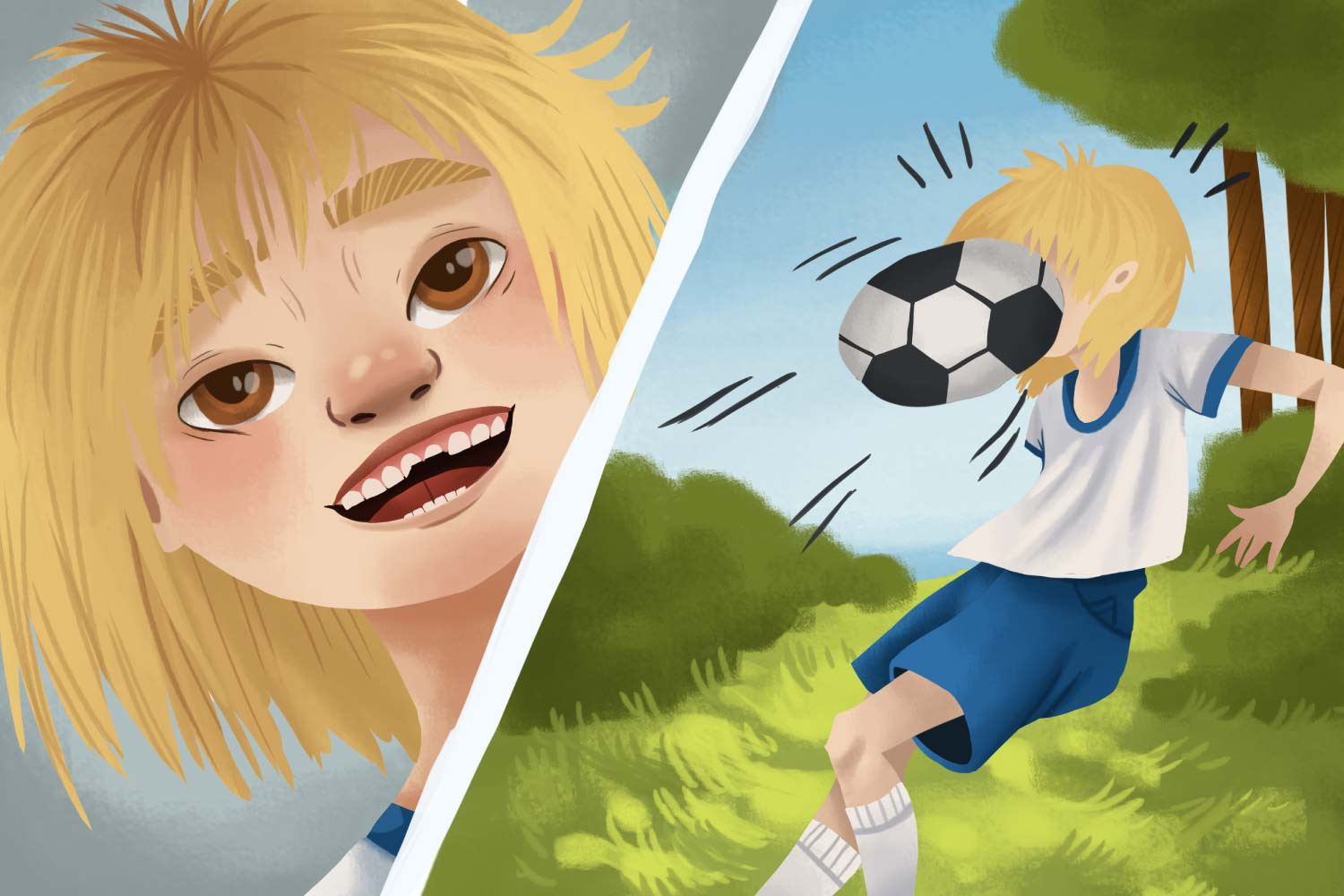 Cartoon image of a girl playing soccer that gets a chipped tooth