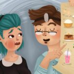 Cartoon dentist showing a woman with a swollen jaw a poster of soft foods to eat after oral surgery.
